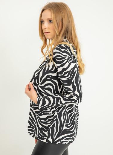 Foremia Zebra Desen Atlas Blazer Ceket Siyah